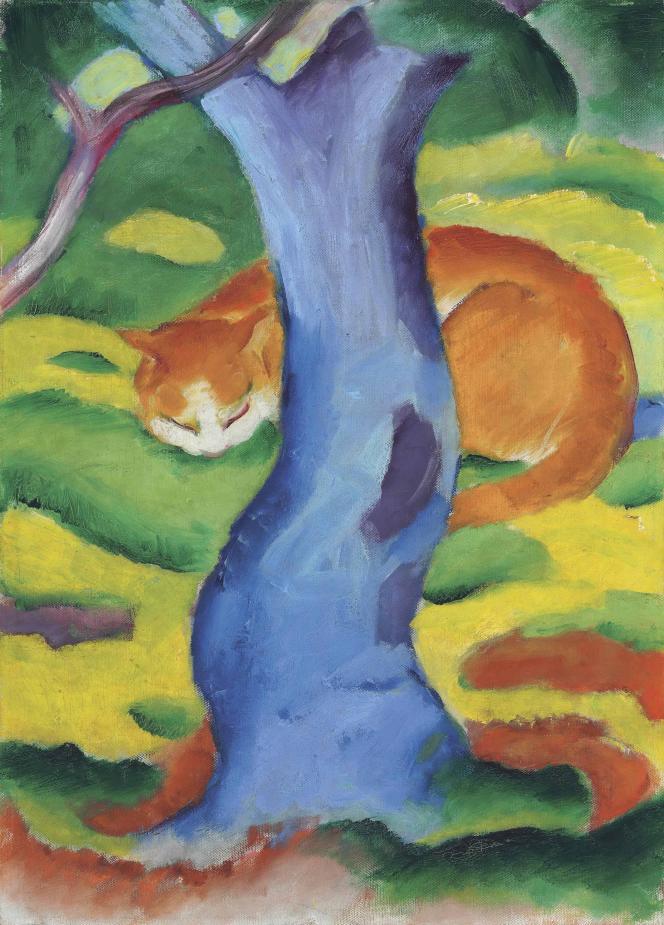 «Tableau pour enfants (Chat derrière un arbre)» (1911), deFranz Marc, huile sur toile.