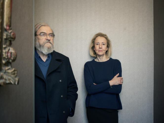 Michel Le Bris et Dominique Bona, à Paris, Hôtel des Saints-Pères, en janvier 2019.
