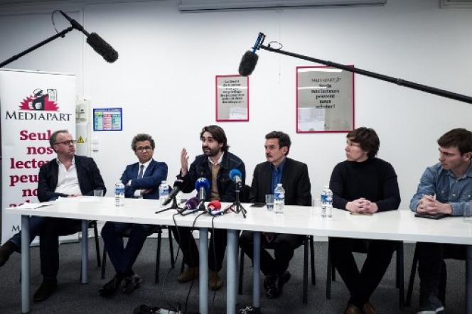 Conférence de presse organisée dans les locaux de« Mediapart», lundi 4 février, après la tentative de perquisition des locaux du site.