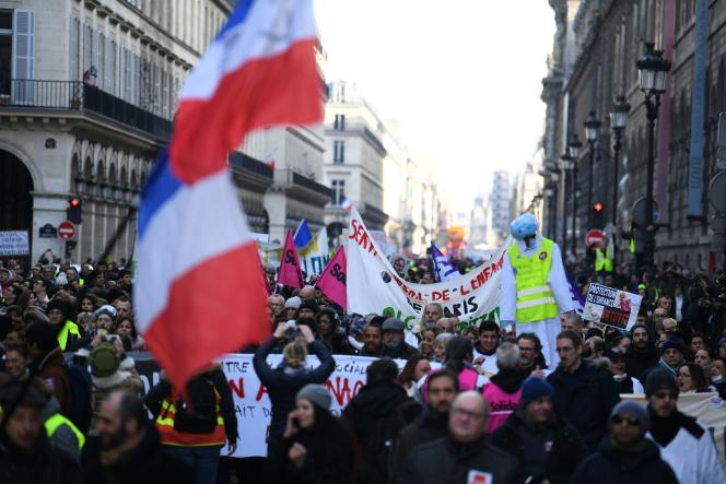 Des« gilets jaunes» lors d'une manifestation organisée par la CGT à Paris, le5février2019.