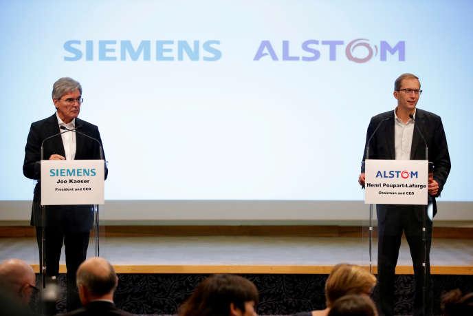 Le PDG de Siemens, Joe Kaeser, et celui d'Alstom, Henri Poupart-Lafarge, à Paris, en septembre 2017.