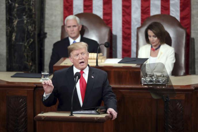 DonaldTrumpdevantle Congrèsaméricain durant son discours sur l'état de l'Union, le 5 février à Washington.
