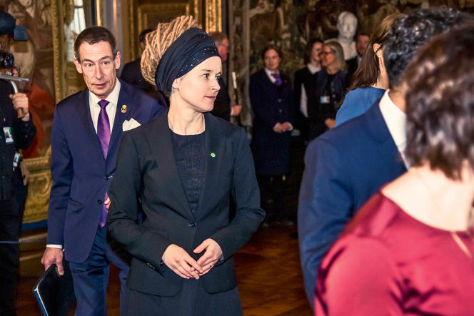 Amanda Lind lors de la réunion du nouveau gouvernement à Stockholm, le 21 janvier.