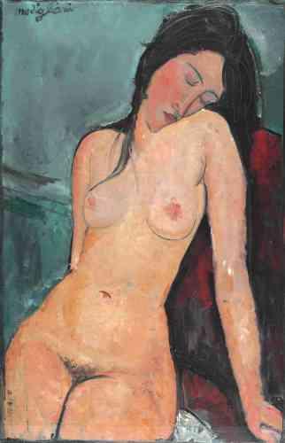 """« Lorsqu'il peint cette œuvre, Amedeo Modigliani, arrivé à Paris dix ans plus tôt, vit à Montmartre et a déjà acquis une certaine notoriété auprès de l'avant-garde parisienne. Comme Paul Gauguin dont il admire le travail, Modigliani fusionne des éléments issus de cultures non-européennes et certaines conventions de la peinture occidentale, dont l'imagerie classique des """"nus au repos"""".»"""