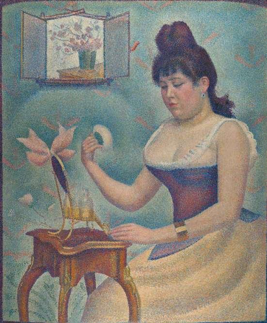 «La jeune femme représentée est Madeleine Knobloch, âgée alors de vingt ans, compagne de Seurat et mère de leur fils. C'est une toile ambitieuse: plutôt que de mêler les couleurs sur la palette ou la toile, le peintre a appliqué les pigments sous forme de petites touches de couleur pure.»