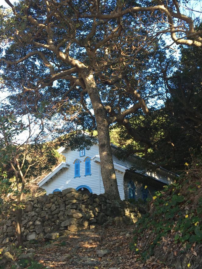 L'église d'Egami sur l'île de Naru, construite en 1918, inscrite au patrimoine mondial de l'Unesco.