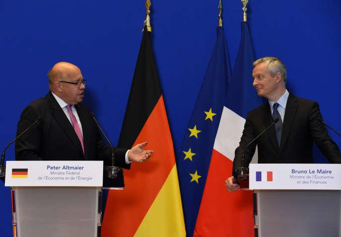 Peter Altmaier et Bruno Le Maire le 11 juillet 2018 lors d'une conférence de presse conjointe à Paris.