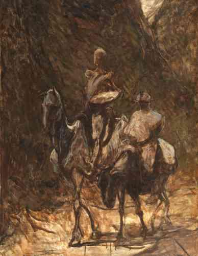 «L'histoire parodique du chevalier errant Don Quichotte et de Sancho Panza, le paysan qui devint son écuyer, était l'un des sujets de prédilection de Daumier. Caricaturiste de renom, il utilisa ici subtilement les montures pour camper la psychologie des personnages: le cheval Rossinante est aussi noble et décharné que son cavalier, tandis que l'âne de Sancho Panza a l'air épuisé, las et résigné.»