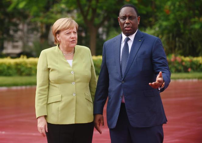 La chancelière allemande Angela Merkel et le président sénégalais Macky Sall, à Dakar, en août 2018.