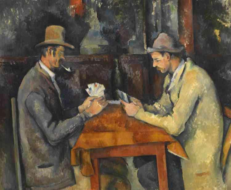 """«Au cours des années 1890, Cézanne réalisa cinq toiles représentant des joueurs de cartes. Bien que l'on puisse croire que la scène est saisie sur le vif dans le café d'un village, les modèles sont en fait des ouvriers et travailleurs agricoles du domaine du Jas de Bouffan, où Cézanne avait son atelier : pour lui, ces """"personnages"""" incarnaient des modes de vie ruraux traditionnels qu'il estimait et considérait comme essentiels pour son art.»"""