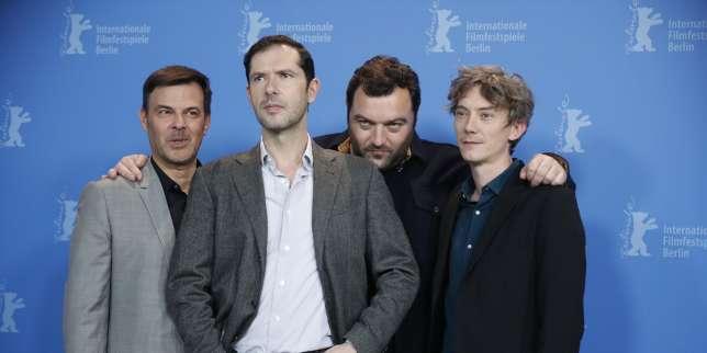 François Ozon et les acteurs de «Grâce à Dieu», Swann Arlaud, Denis Menochet et Melvil Poupaud, lors de la Berlinale, le 8 février.