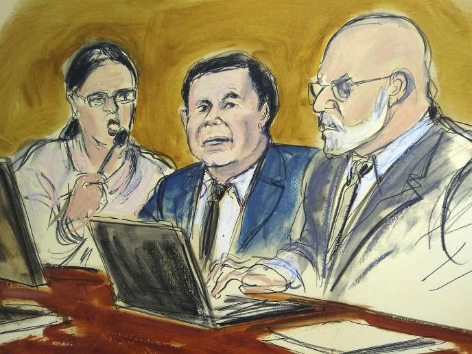 Joaquin «El Chapo» Guzman, au centre, lors de son procès.
