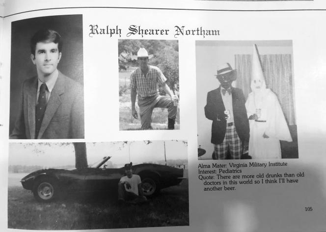 Extrait de l'annuaire d'anciens élèvesdu gouverneur de Virginie Ralph Northam, montrant un homme grimé en noir et un autre vêtu du costume du Ku Klux Klan.