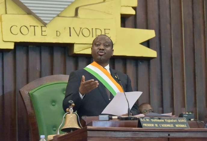 Guillaume Soro annonce sa démission de la présidence de l'Assemblée nationale ivoirienne, le 8 février 2019, à Abidjan.