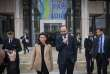 French Prime minister Edouard Philippe (R) walks next to Pays-de-la-Loire region President Christelle Morancais (L) after signing a special agreement (Contrat d'Avenir) to support the developpment of the region after the Notre-Dame-des-Landes airport disengagement, on February 8, 2019, in Nantes, western France. / AFP / LOIC VENANCE