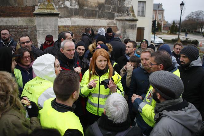 Ingrid Levavasseur, tête de liste«Ralliement d'initiative citoyenne» pour les élections européennes, àGrand-Bourgtheroulde (Eure), le 15 janvier.