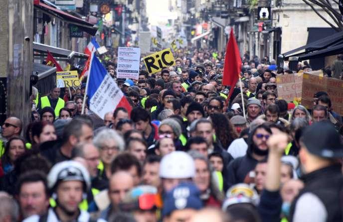 Manifestation de « gilets jaunes» à Bordeaux, samedi 9 février 2019.