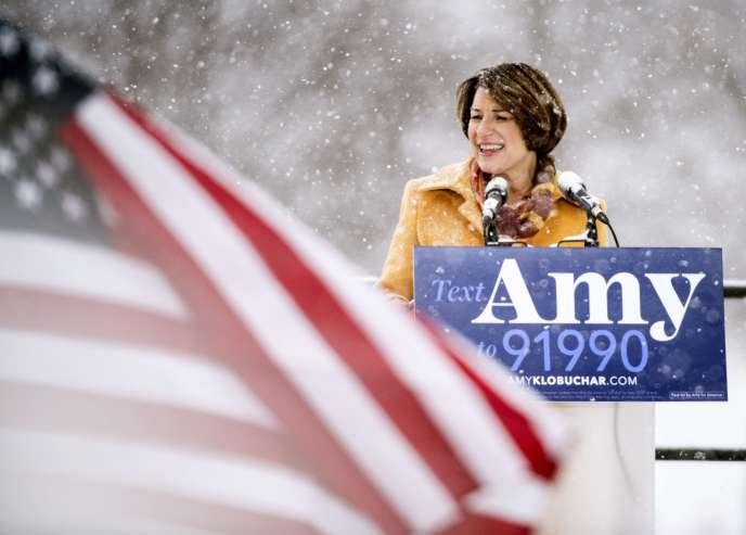 Amy Klobuchar, quatrième femme sénatrice à vouloir défier Donald Trump dans la course à la présidentielle 2020, à Minneapolis, le 10 février.
