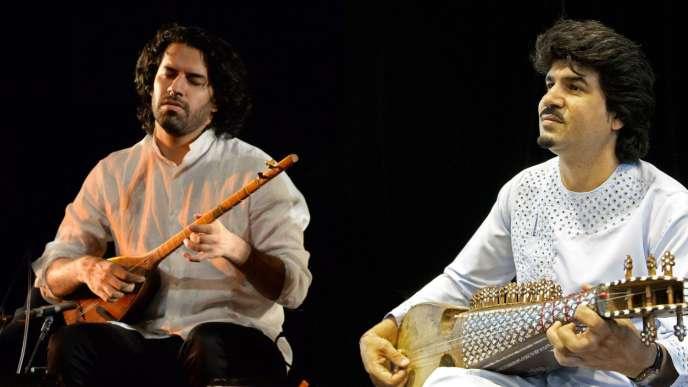 Sohrab Pournazeri etHomayoun Sakhi réunis sur scène.