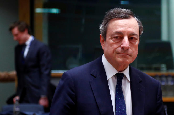 Mario Draghi, le président de la Banque centrale européenne,à Bruxelles, le 11 février. Celui-ciquittera la tête de l'institution en octobre 2019.