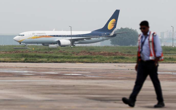 Un Boeing 737 de Jet Airways, sur le tarmac de l'aéroport de New Delhi, en août 2018.
