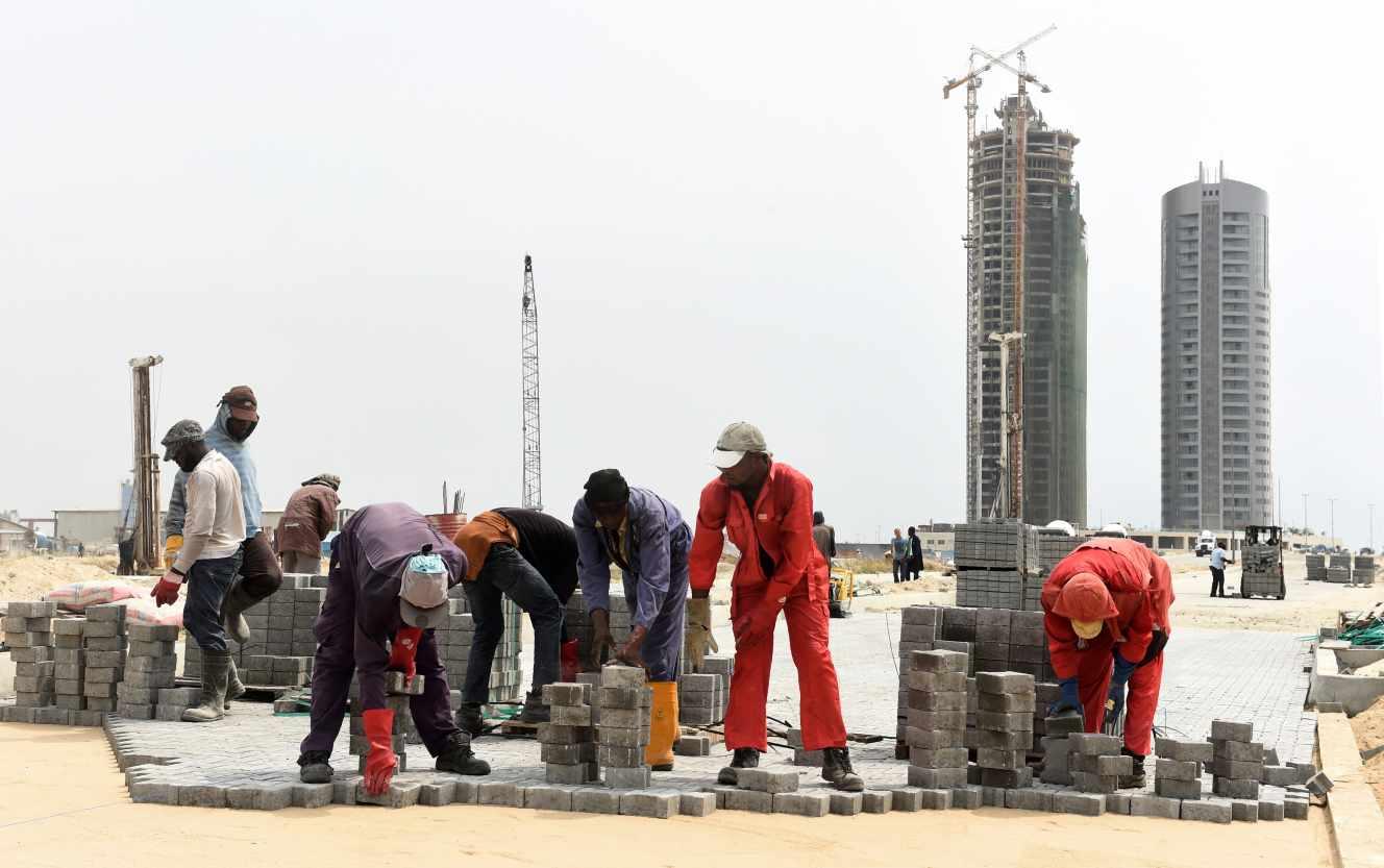 La obra del proyecto inmobiliario Eko Atlantic, Lagos, en noviembre de 2016.