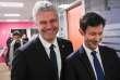 Laurent Wauquiez et François-Xavier Bellamy,tête de liste LR aux européennes, le 1er février, à Trevenans (Belfort).