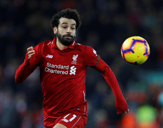 L'attaquant égyptien Mohamed Salah, dont la cote atteint les 200 millions d'euros, lors d'une rencontre entre son club, le Liverpool FC, et Arsenal, à Liverpool, le 29 décembre 2018.