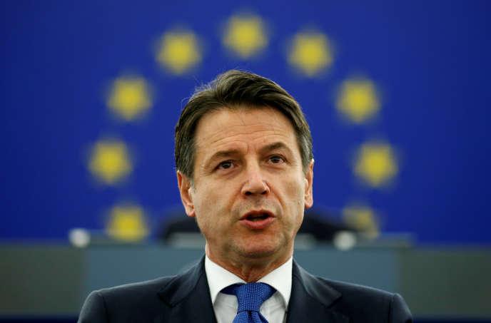 Le premier ministre italien Giuseppe Conte au Parlement européen à Strasbourg, le 12 février.