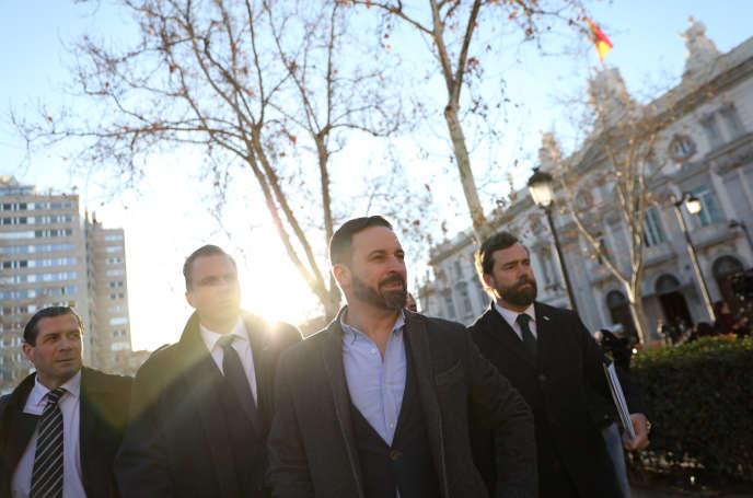 Santiago Abascal, le chef du parti d'extrême droite Vox, arrive à la Cour suprême, à Madrid, le 12 février.