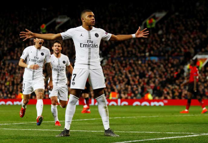 Kylian Mbappé, buteur lors du match aller face à Manchester United, le 12février.