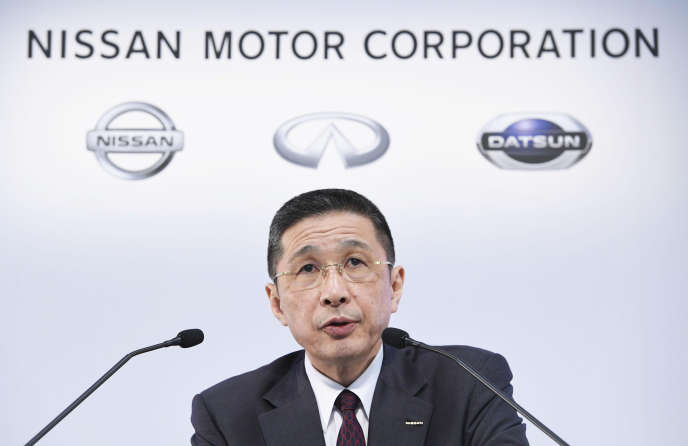 Le directeur général de Nissan, Hiroto Saikawa, au siège du constructeur japonais, à Yokohama, mardi 12 février.