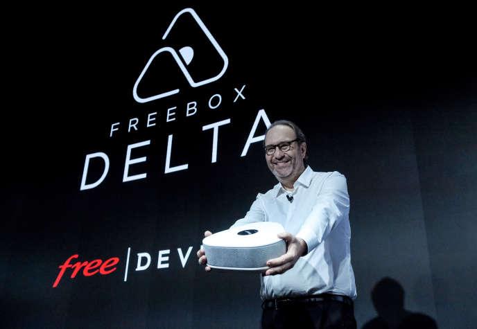 Xavier Niel, fondateur d'Iliad, maison mère de Free, présente la box Delta, à Paris, le 4 décembre 20018.
