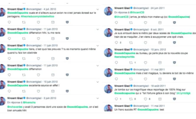 Capture d'écran de messages envoyés par Vincent Glad à Capucine Piot, sur un compte Twitter qu'elle a supprimé depuis.