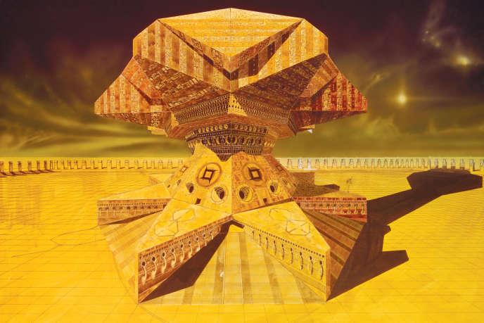 Le palais de l'Empereur, dessin préparatoire de Chris Foss pour «Dune», 1975.