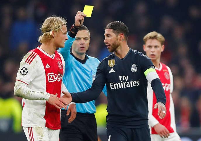 Sergio Ramos, le 13 février à Amsterdam pour le match aller du Real Madrid, en huitièmes de finale de la Ligue des champions du Real Madrid.