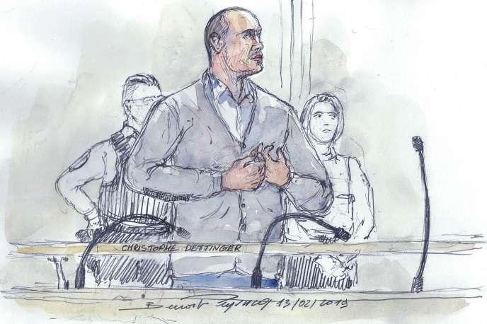Croquis d'audience représentant Christophe Dettinger lors de sa comparution devant le tribunal correctionnel de Paris, le 13 février.