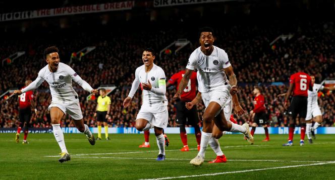 La joie de Presnel Kimpembe, auteur du premier but pour le PSG face à Manchester United, le 12 février.