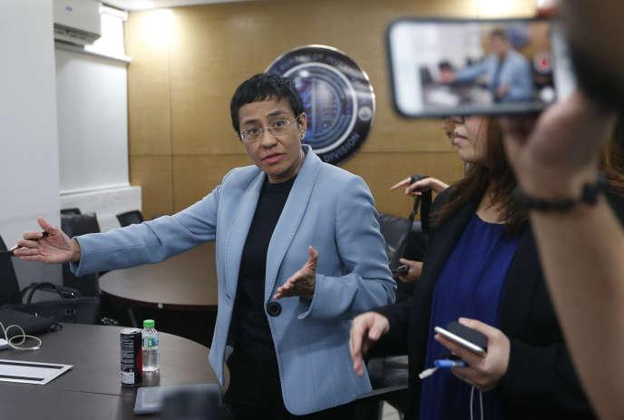 Maria Ressa, rédactrice en chef d'un site d'information critique du président philippin, a été arrêtée à Manille, le 13 février 2019.