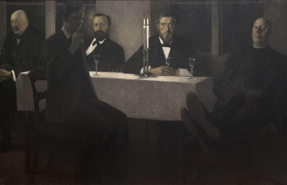 """«Sont représentés, attablés de gauche à droite, l'architecte et designer Thorvald Bindesboll, l'historien de l'art Karl Madsen, le peintre J. F. Willumsen, le peintre Carl Holsoe, tous amis proches d'Hammershoi, et, de l'autre côté de la table, son frère Svend de trois-quarts. Comme souvent chez Hammershoi, il n'y a pas d'interaction entre les personnages et chacun semble regarder dans une direction différente. Sur la nappe blanche immaculée sont disposés seulement des verres à pied et deux chandeliers aux bougies allumées. Le spectateur d'aujourd'hui peut également songer, devant ce tableau majeur, au célèbre repas du film danois de Gabriel Axel """"Le Festin de Babette"""", qui se passe dans un petit village du Jutland vers 1871, ave c ses personnages vêtus de noir.»"""