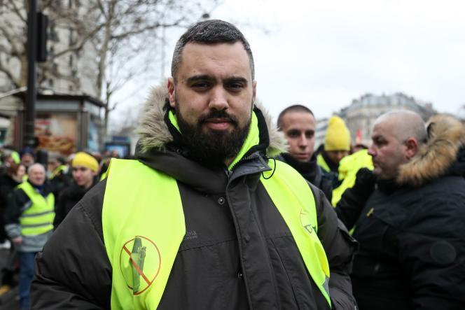 Eric Drouet dans la manifestation parisienne des« gilets jaunes» le 2 février 2019.