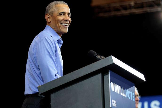 L'ex-président américainBarack Obama, à Milwaukee (Wisconsin), en octobre 2018.