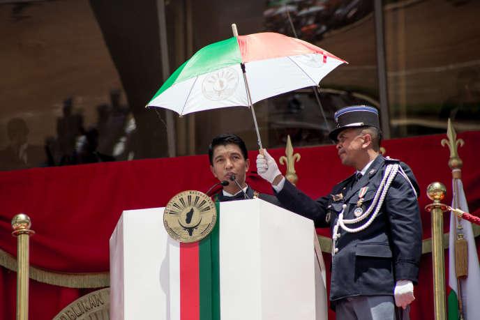 Le nouveau président malgache Andry Rajoelina prend la parole lors de son investiture, à Antananarivo, le 19 janvier 2019.