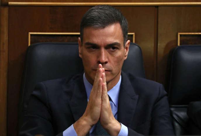 Le premier ministre espagnol, Pedro Sanchez, lors du débat parlementaire sur le budget, à Madrid, le 13 février.