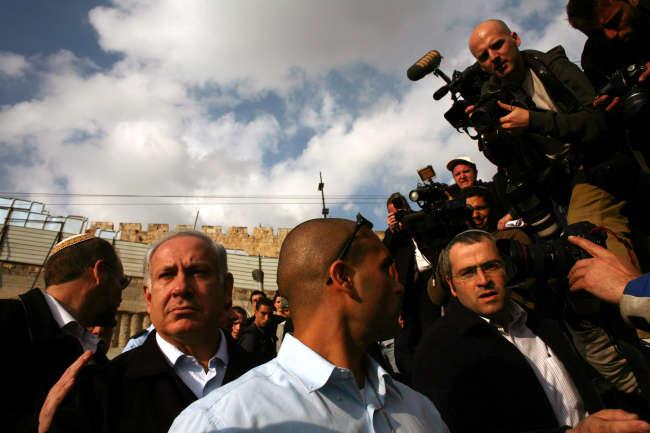 BenyaminNétanyahouen campagne électorale àJérusalem,en février2009.
