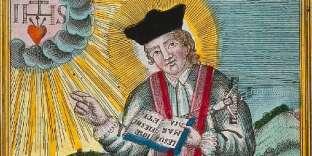 Gravure de saint Valentin bénissant un épileptique.