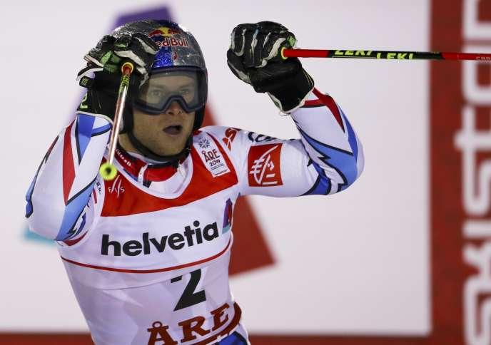 Alexis Pinturault, lors du slalom géant des Mondiaux d'Are (Suède), pour lequel il décrochera le bronze, le 15 février.