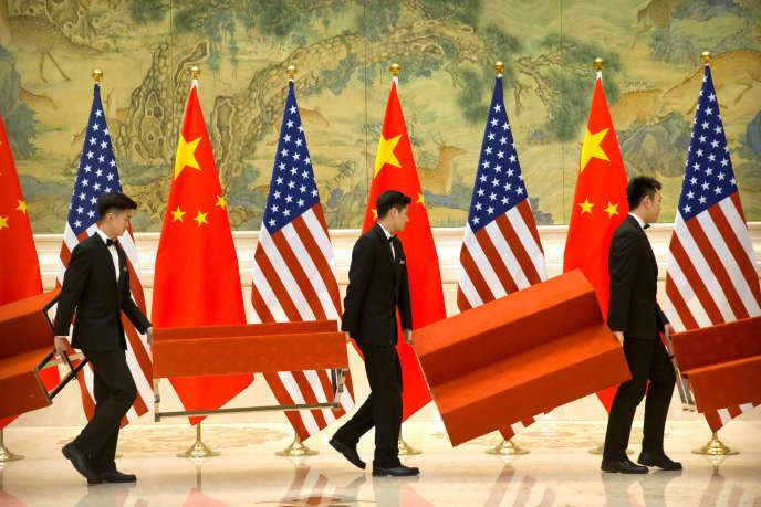 Lors d'un sommet commercial amricano-chinois, à Pékin, le 15 février.