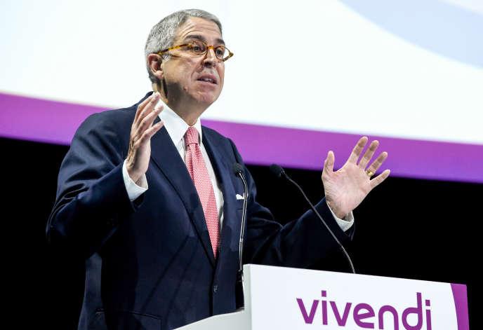 Le président du directoire de Vivendi, Arnaud de Puyfontaine, à Paris, en avril 2018.