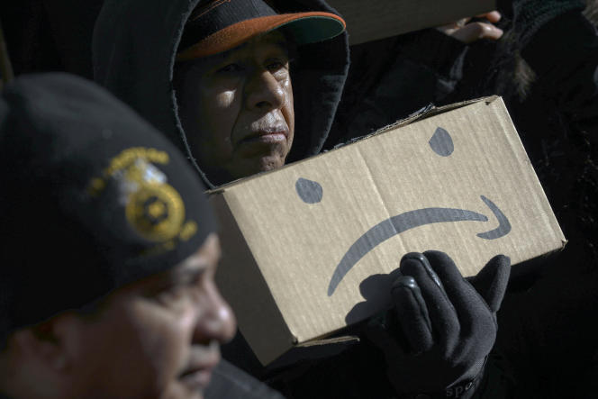 Rassemblement contre l'implantation d'Amazon dans le quartiernew-yorkaisde LongIsland City, le 30 janvier.